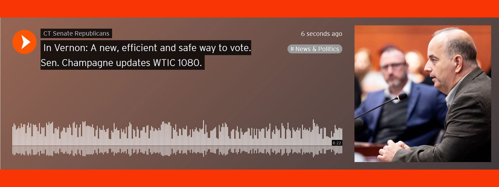 Sen. Champagne on WTIC 1080: a creative approach to voting in Vernon, ideas for opening businesses